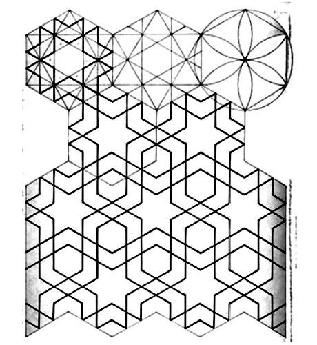 جزئیات نمای سر در ورودی مسجد جامع ورزنه برگرفته جذر عدد 3، قرن 9 ه. ق